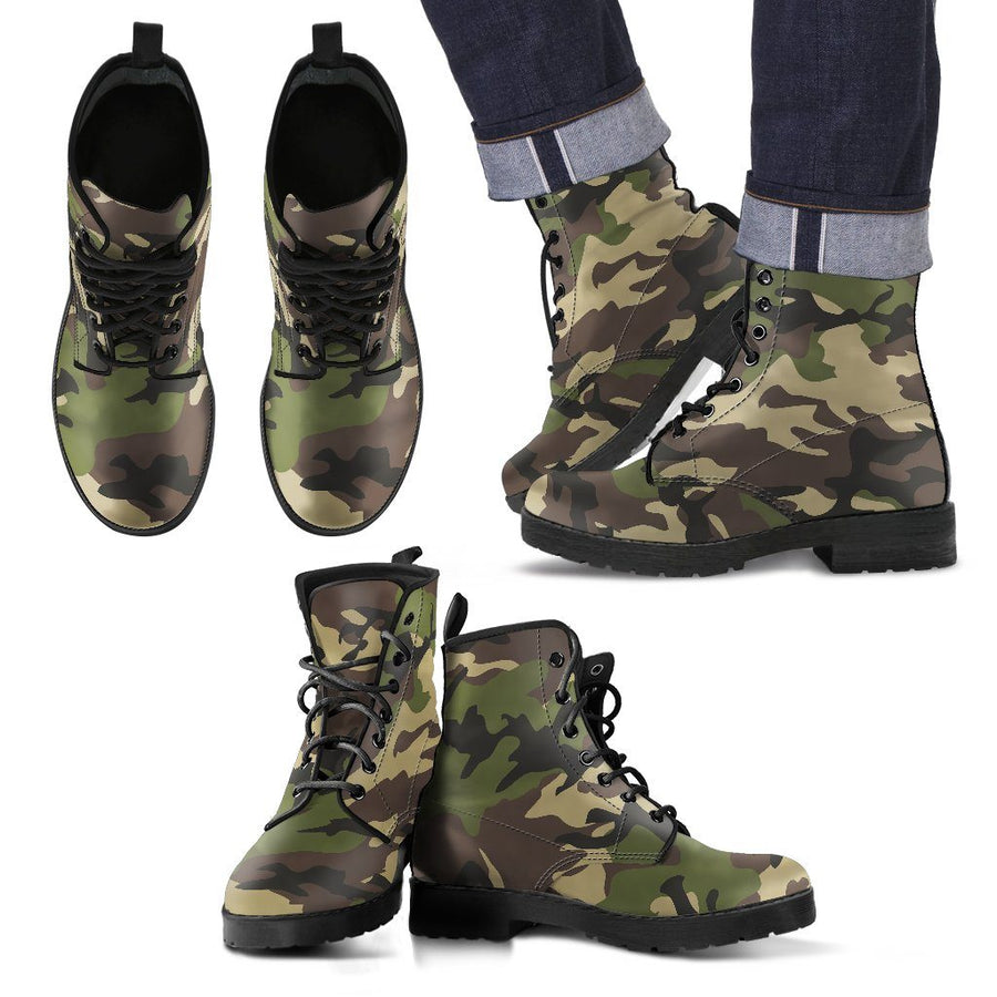 Shoes - Camouflage Woodland - Men's Leather Boots