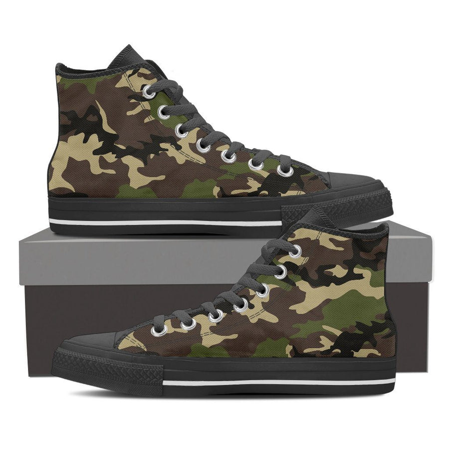 Shoes - Camouflage Woodland - Women's High Top Canvas Shoes