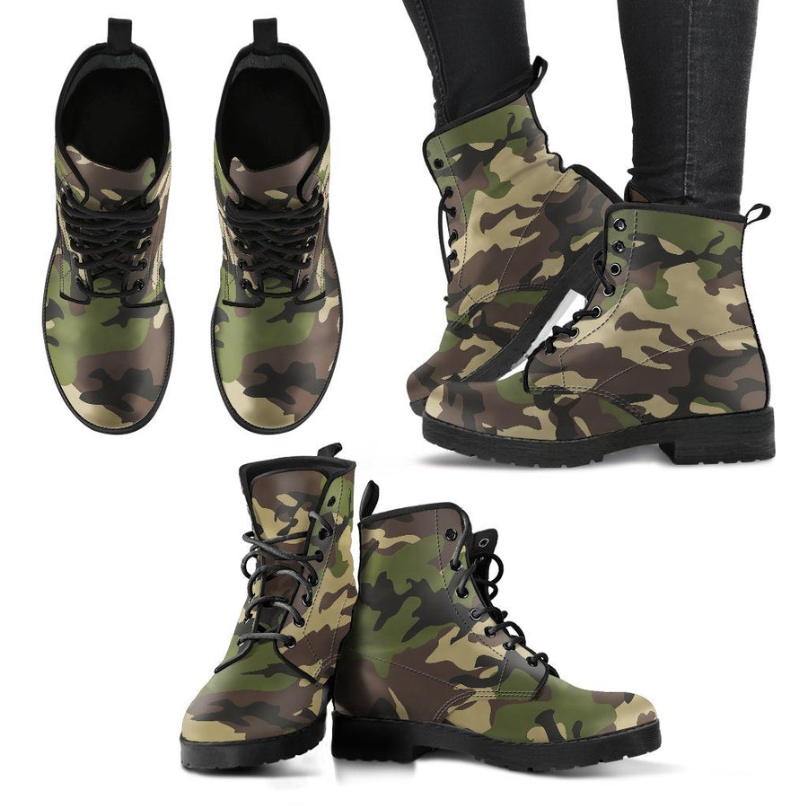 Shoes - Camouflage Woodland - Women's Leather Boots