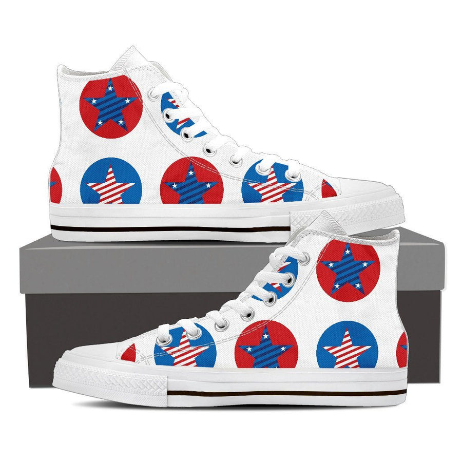 Shoes - Round Stars - Men's High Top Canvas Shoes