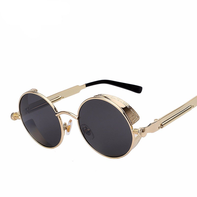 Sunglasses - Round Metal Steampunk Retro Sunglasses