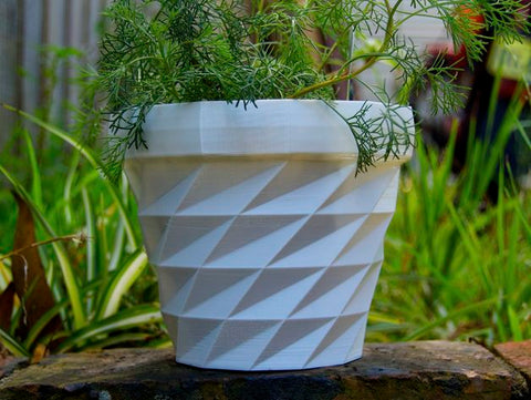 Downloadable Triangulated Flower Pot for 3D Printer