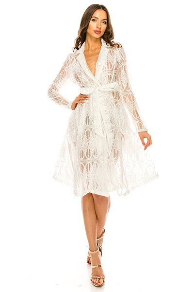 White Organza Lace Trench Coat