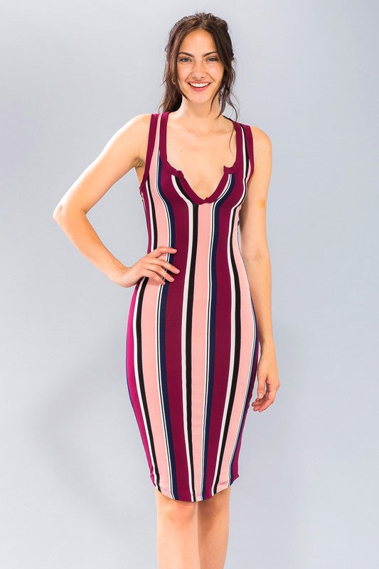Burgundy Stripe Knit Bodycon Midi Dress