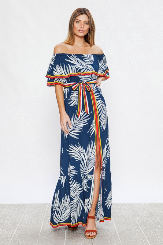 Blue Palm Leaf Off The Shoulder Maxi Dress