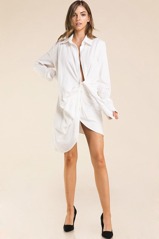 White Button Front Shirt Dress