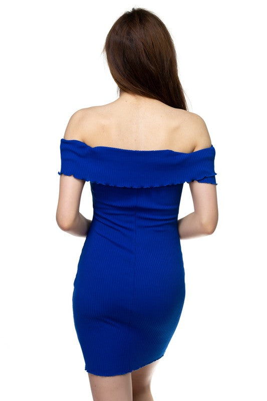 Emma Blue Off-the-Shoulder Ribbed Knit Bodycon Mini Dress