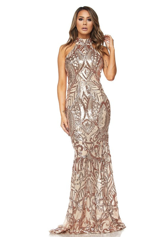 Sandy Rose Gold Sequins Mermaid Maxi Dress - FINAL SALE