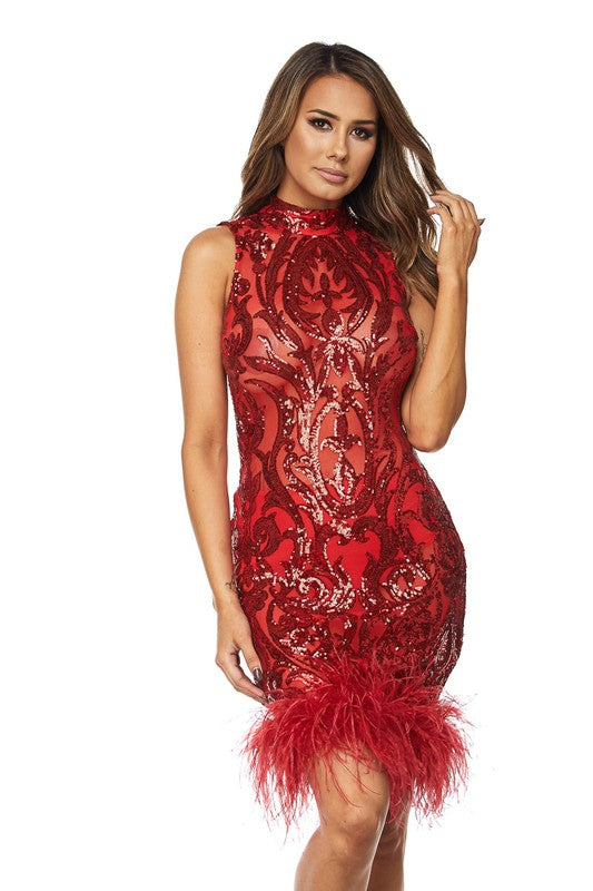 Melody Mesh Sequins Feather Hem Mini Dress
