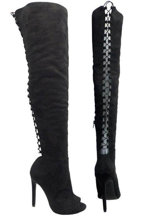 Over The Knee Lace Up Detail Boots - Black