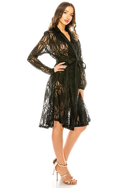 Black Lace Organza Trench Coat