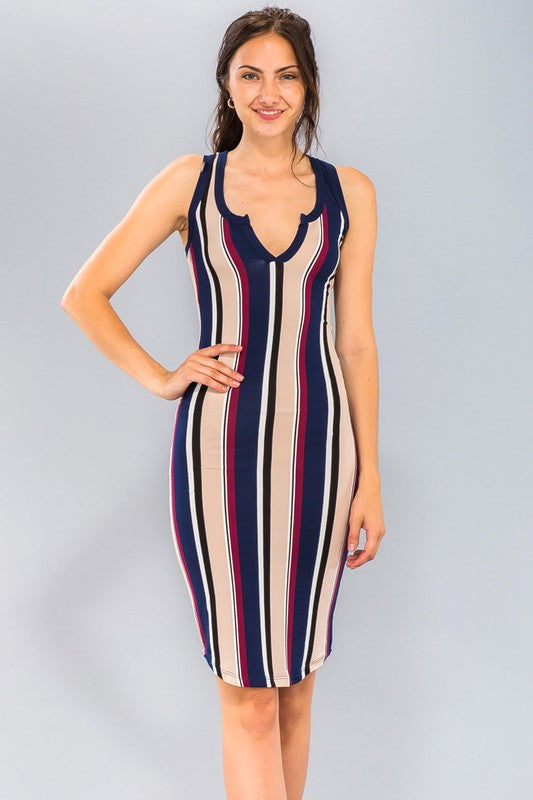 Navy Stripe Knit Bodycon Midi Dress