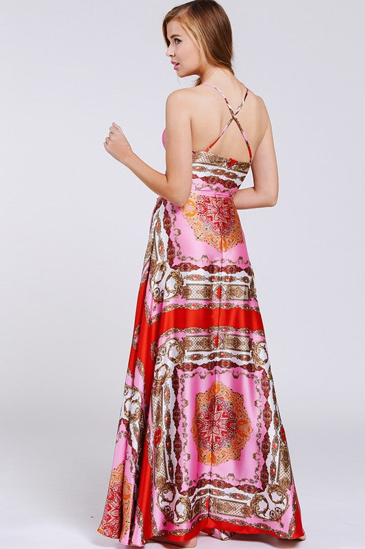 Pink & Red Scarf Maxi Dress