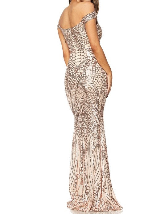 Sarah Rose Gold Sequin Off Shoulder Mermaid Maxi Dress