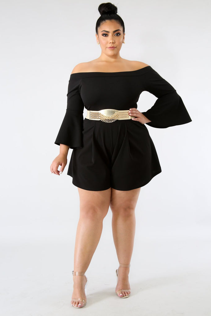 PLUS SIZE Black Off Shoulder Romper