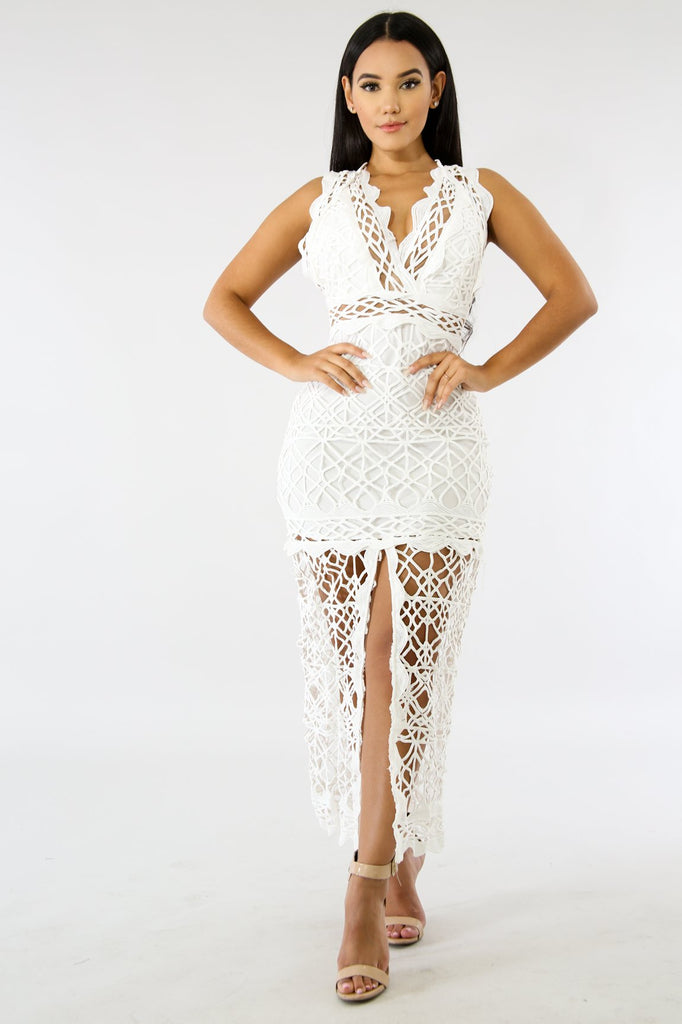 Claudia White Crochet V-Neck Front Slit Maxi Dress - FINAL SALE