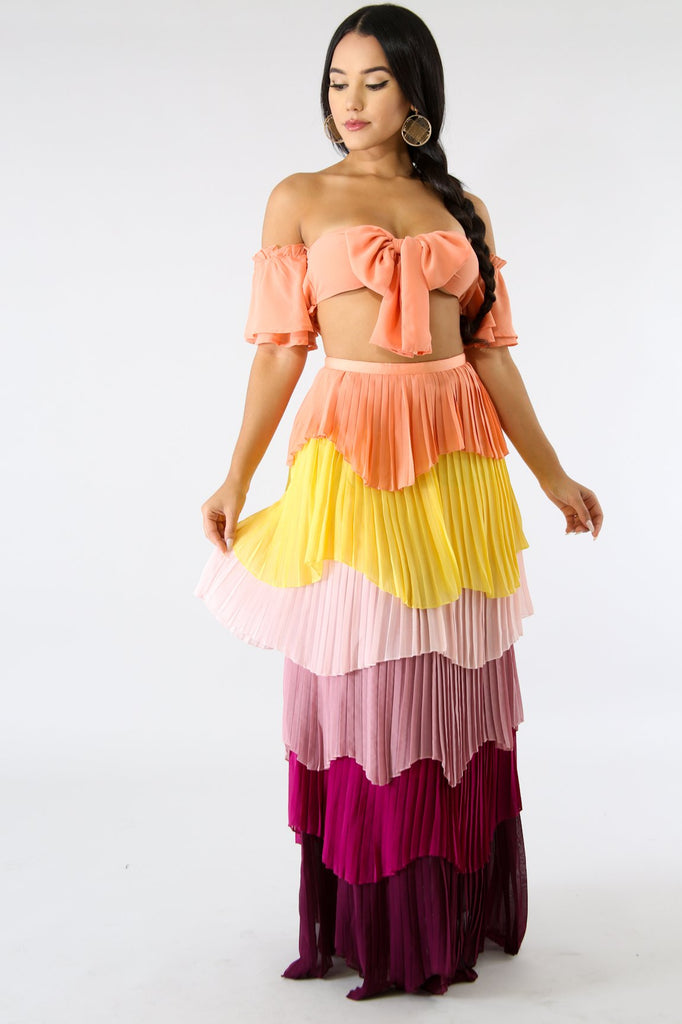 Kristina Tiered Accordion Pleated Maxi Skirt Set