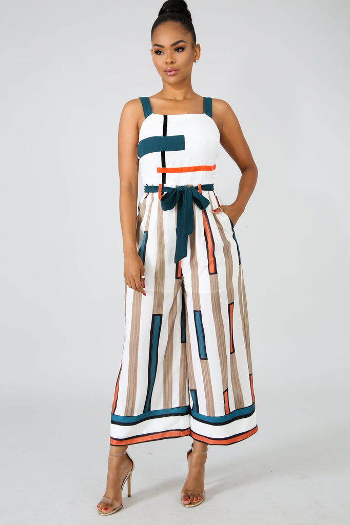 Ally Stripe Color Blocks Culotte Jumpsuit