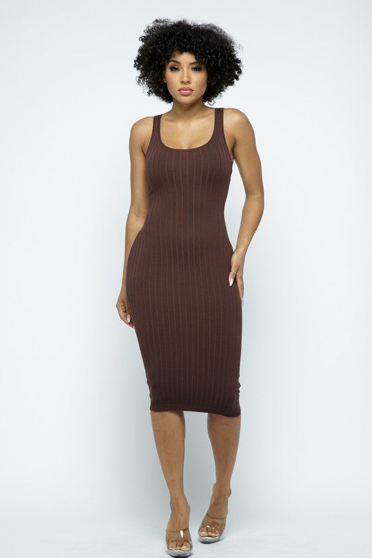 Brown Ribbed Knit Midi Bodycon Dress