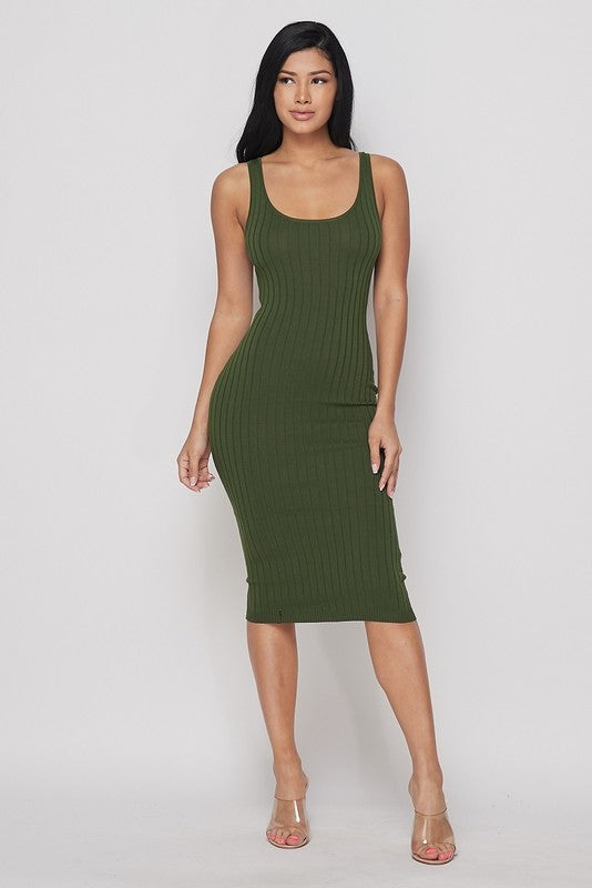 Olive Green Ribbed Knit Bodycon Dress