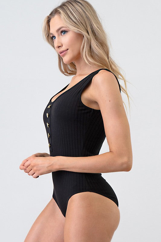 BLACK Basic Ribbed Knit Jersey Bodysuit