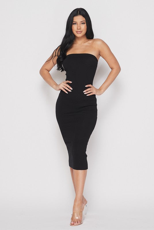 Hera Black Knit Ribbed Tube Midi Dress