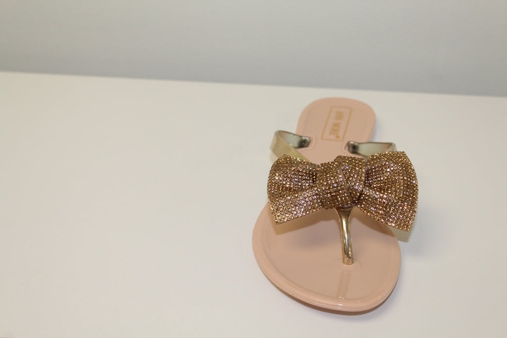 Beige Rhinestone Bow Jelly Flat Sandals