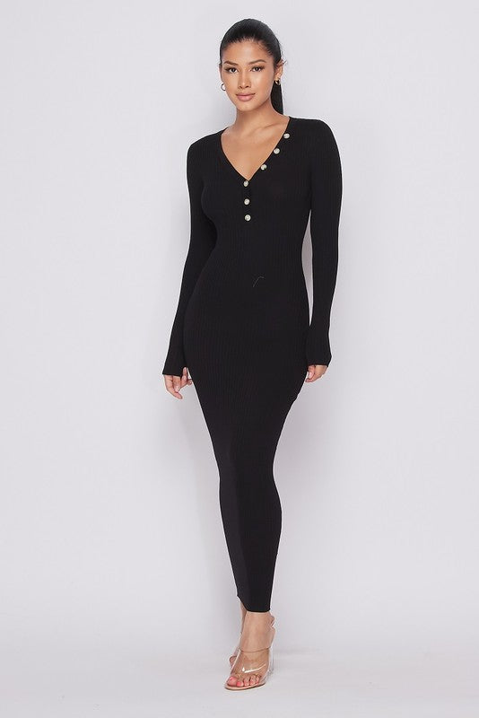 Black Ribbed Knit Button Detail Dress