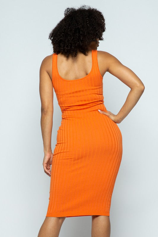 Orange Ribbed Knit Bodycon Midi Dress