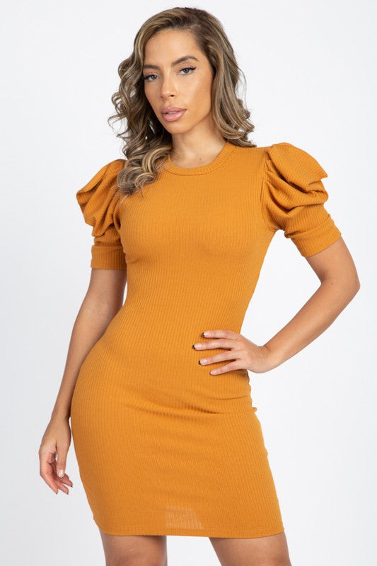 Stefani Mustard Puff Sleeve Mini Dress
