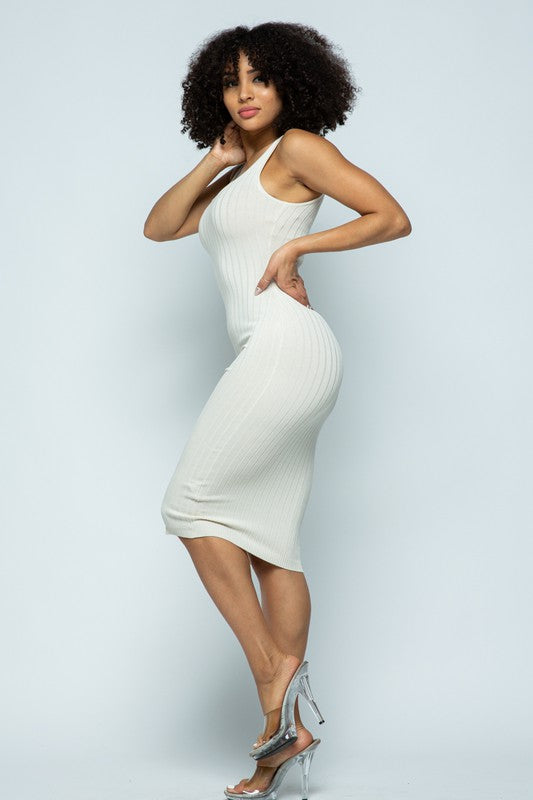 Beige Ribbed Knit Bodycon Midi Dress