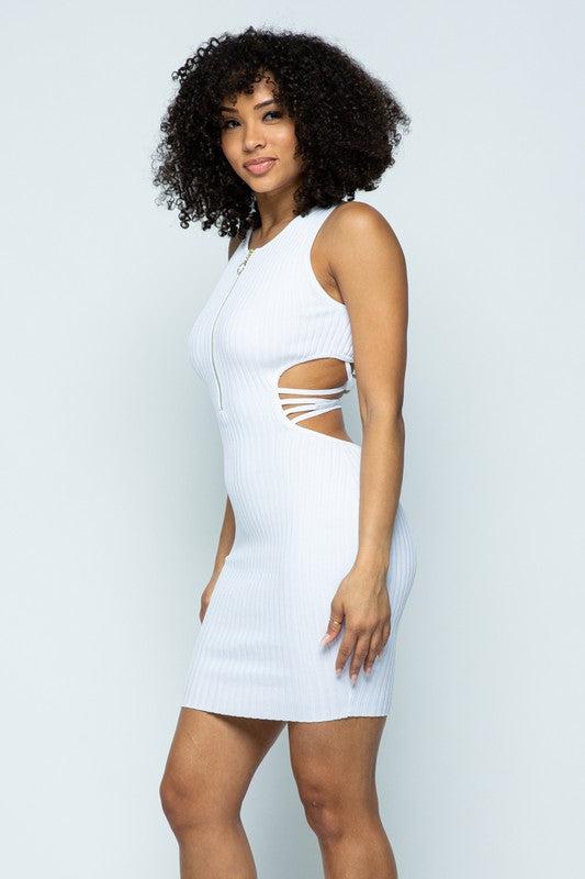 Sandy White Ribbed Knit Strappy Back Mini Dress