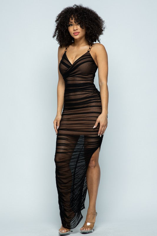 Veronica Black & Nude Ruched Midi Dress