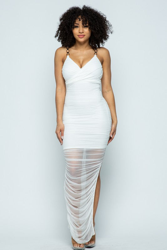 Veronica White Ruched Midi Dress