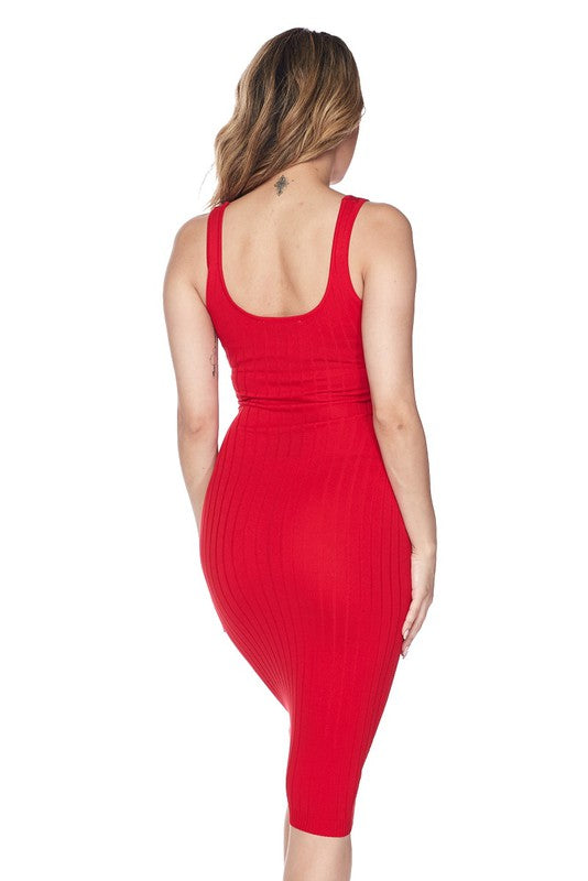 Red Ribbed Knit Midi Bodycon Dress