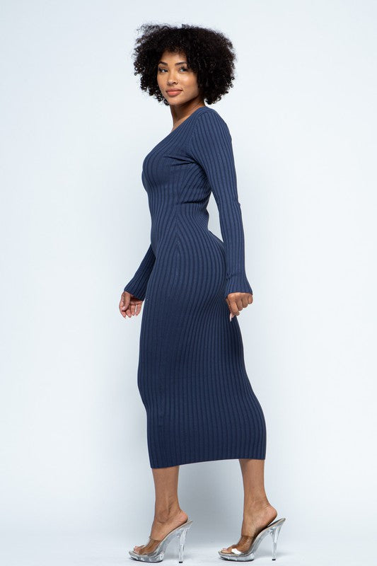 Classic Ribbed Knit Bodycon Midi Dress - Dark Blue