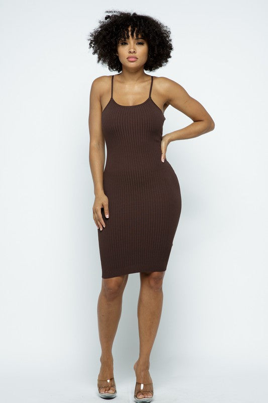 Ella Brown Basic Spaghetti Strap Mini Dress