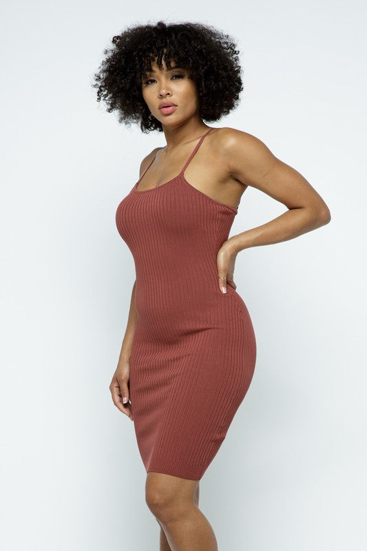 Ella Mauve Basic Spaghetti Strap Mini Dress