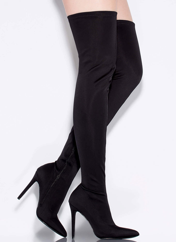 Gisele Black Thigh High Pointed Toe Boots