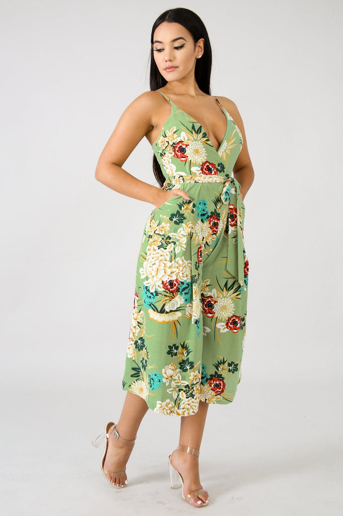 Paige Green Floral Print Culotte Jumpsuit - FINAL SALE