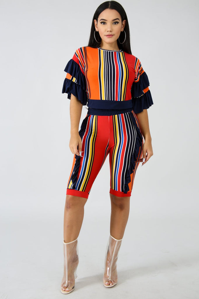 Multi-Colored Stripe Short Set