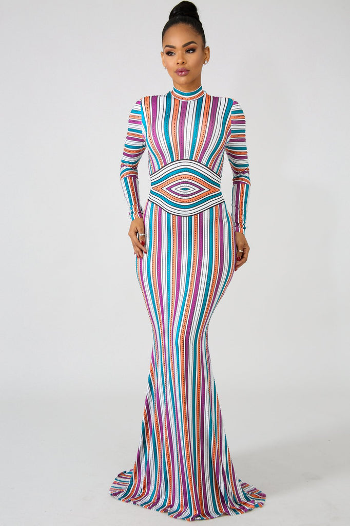 Multi-Colored Rhinestone Embellished Stripe Maxi Dress