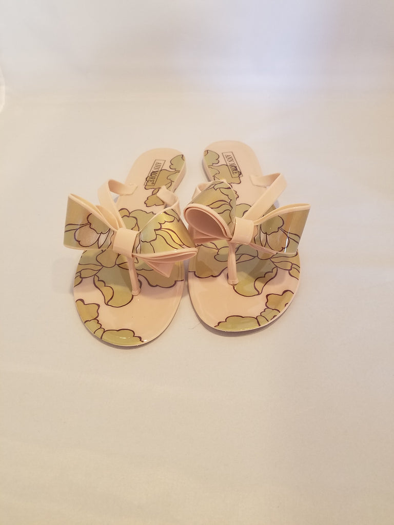 Rome Beige Double Bow Flower Design Flat Thong Sandals
