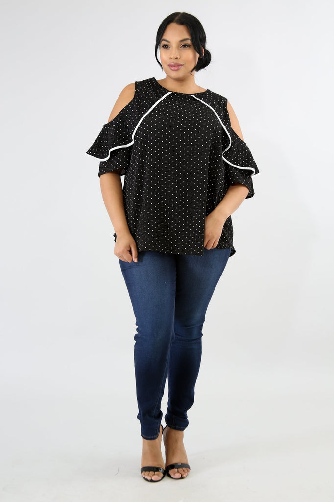 PLUS SIZE Black Polka Dot Cold Shoulder Blouse