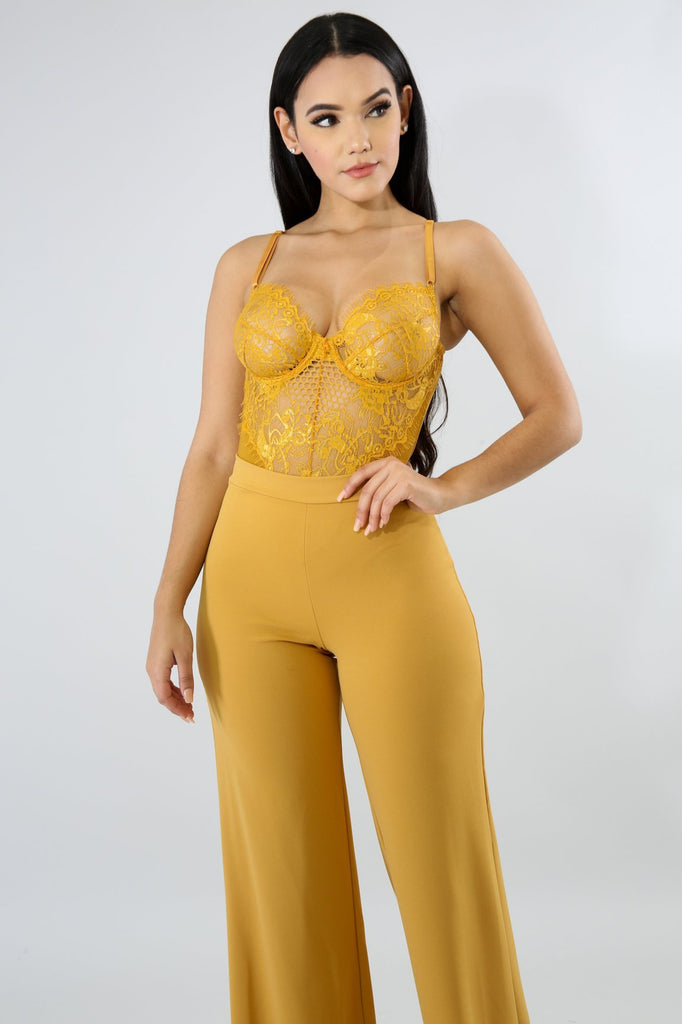 TIC TOC Mustard Yellow Lace Bodysuit