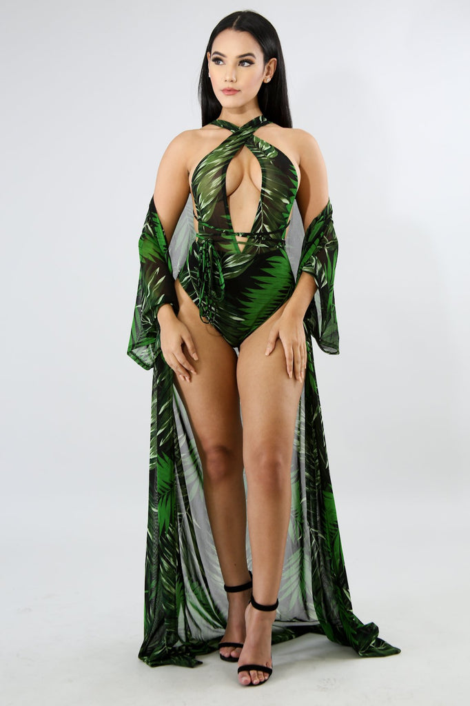Palm Springs Green One-Piece Swimwear with Cover-up