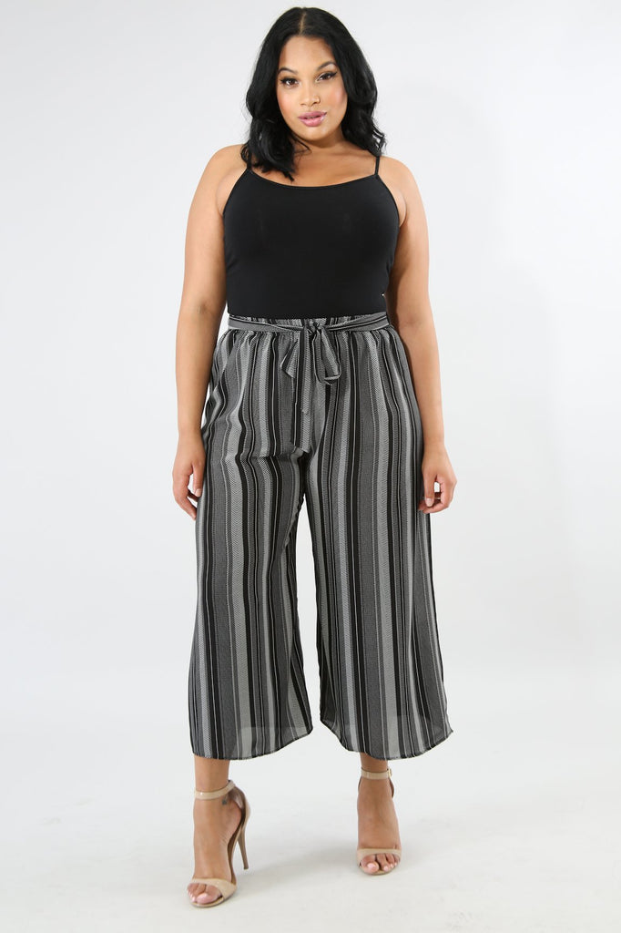 PLUS SIZE Black Stripe Palazzo Mid Calf Wide Leg Pant