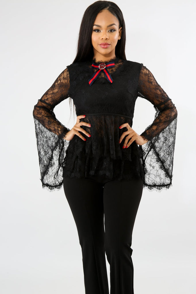 Karlene Black Lace Bow Blouse