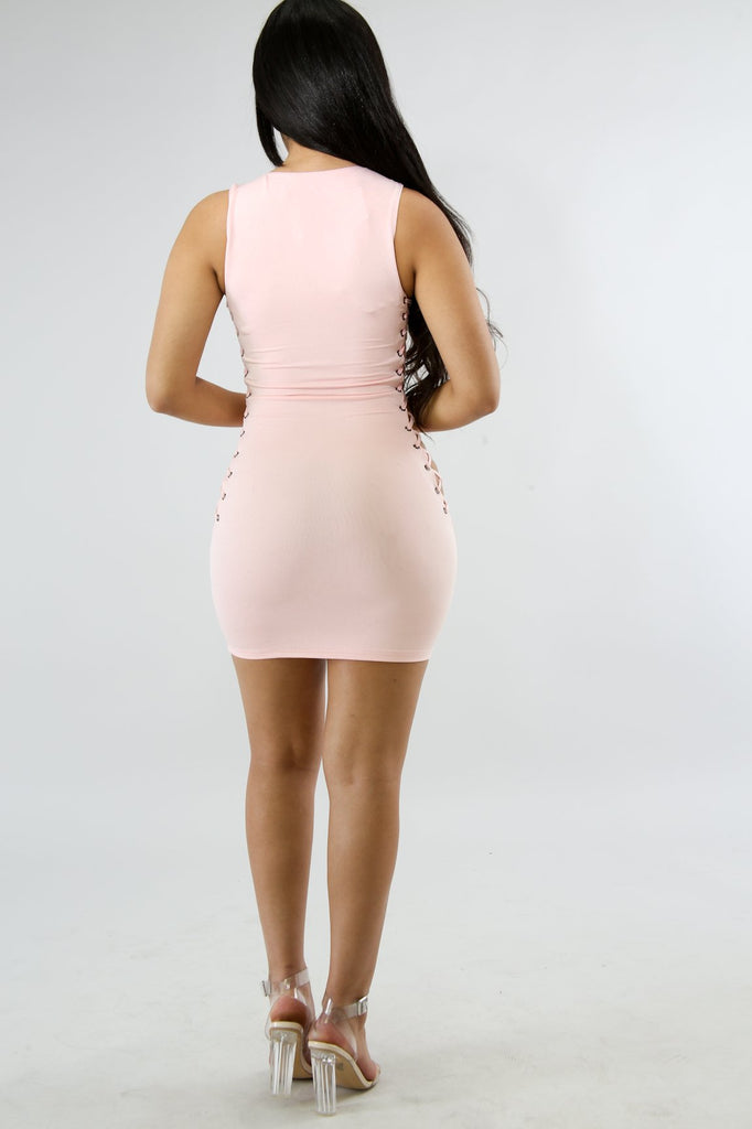 Jada Pink Lace Up Mini Dress