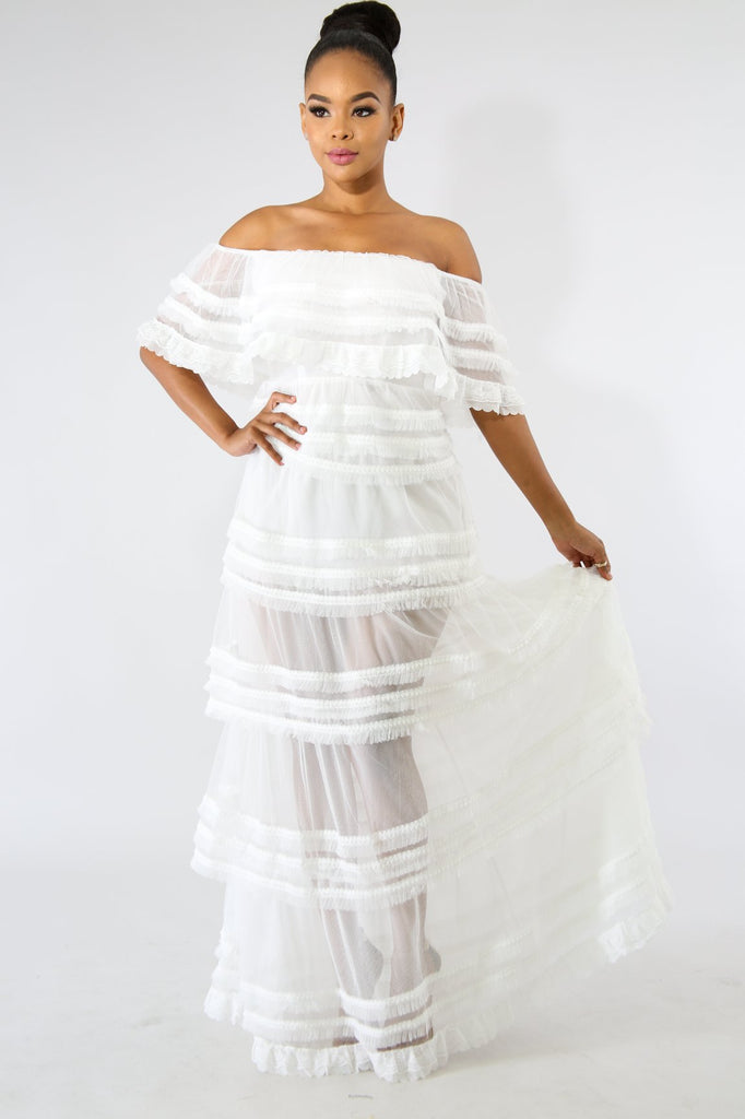 Kris White Off-the-Shoulder Tulle Maxi Dress